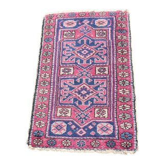 Early 20th Century Vintage Small Wool Rug- 3′ × 1′10″ For Sale