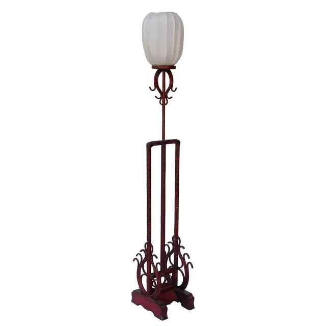 Chinese traditional design bamboo wood lamp shape display with carved base is decorated with the bamboo pattern and...