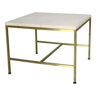 Paul McCobb for Directional Brass Frame and Travertine Top Side Table For Sale