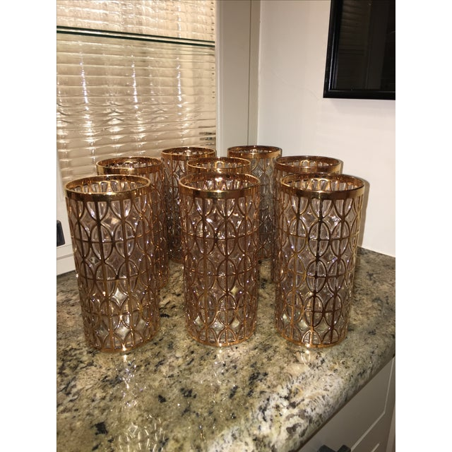 Mid-Century Imperial Glass 24k Gold Highball Glasses - Image 2 of 6
