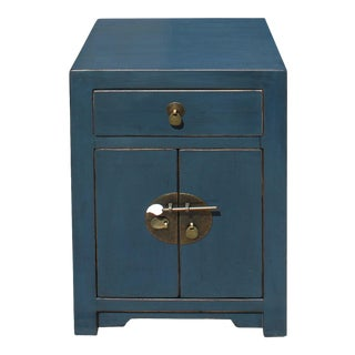 Oriental Distressed Dark Teal Blue Lacquer Side End Table Nightstand For Sale
