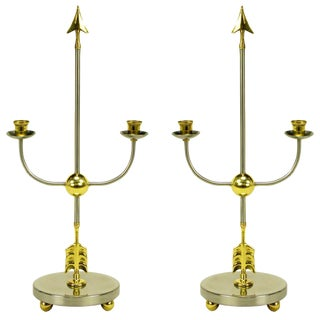 Pair Italian Empire Style Brushed Steel & Brass Candelabra For Sale