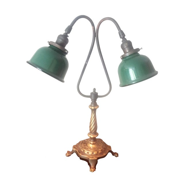 Vintage Industrial Two Arm Accent Lamp With Metal - Image 1 of 8