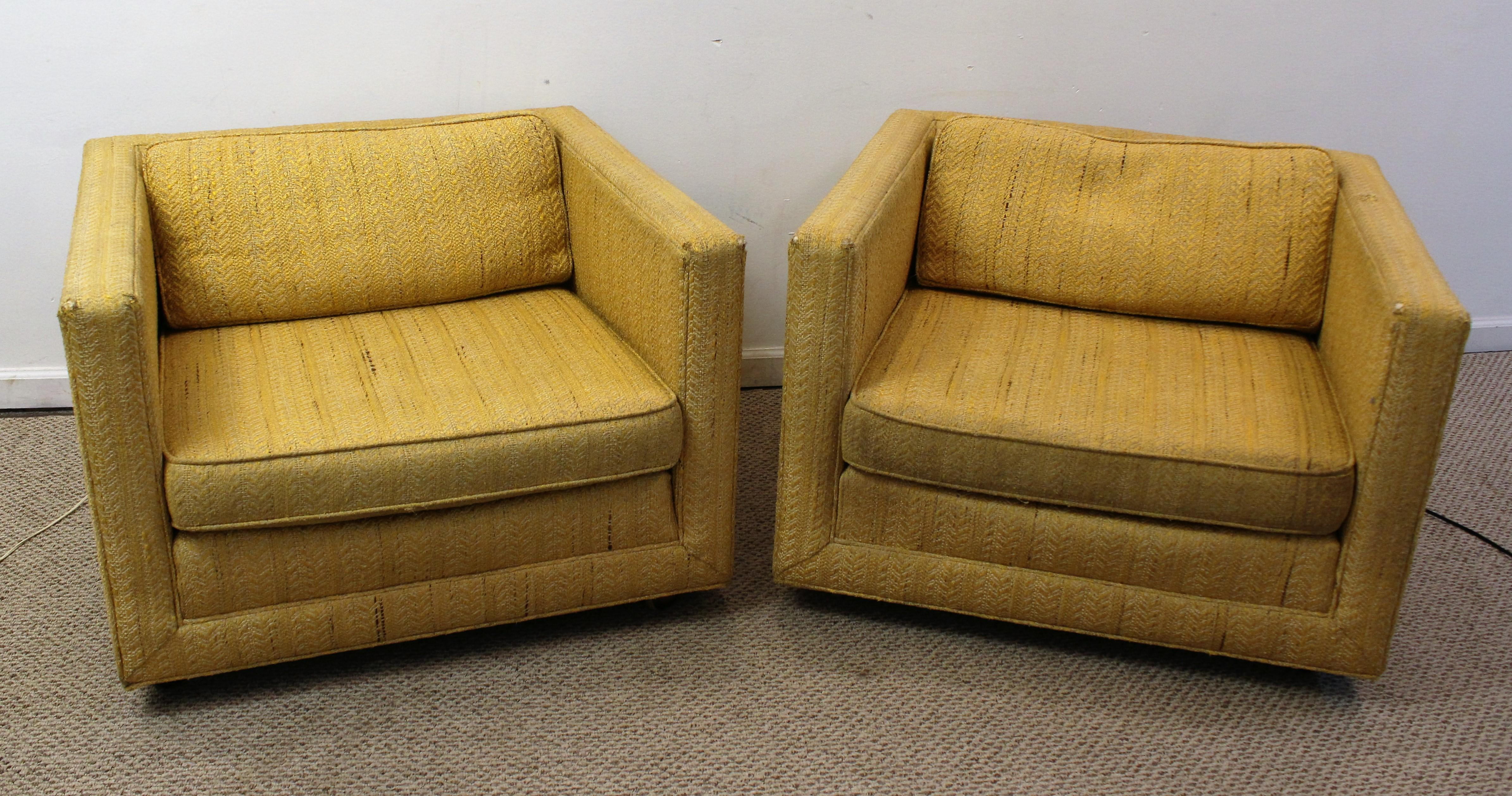 Mid Century Harvey Probber Style Square Club Chairs   Pair   Image 3 Of