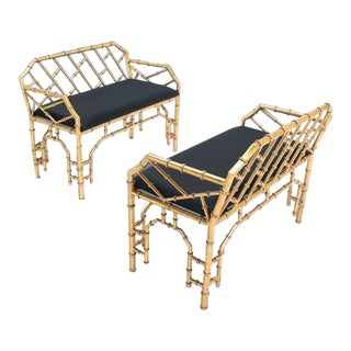 Vintage Mid Century Gold Gilt Metal Faux Bamboo Upholstered Window Benches Pair For Sale