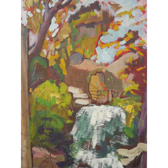 """Waterfall in the Japanese Garden"" Oil Painting - Image 3 of 6"
