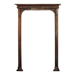 Late 19th Century French Art Nouveau Walnut Narrow 3 Section Archway For Sale