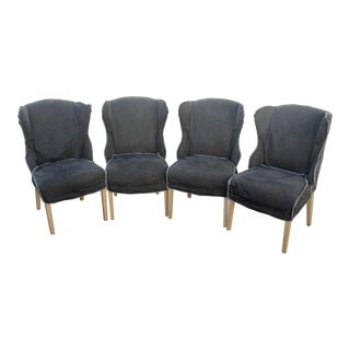 Denim Slipcover Wingback Dining Chairs - Set of 4