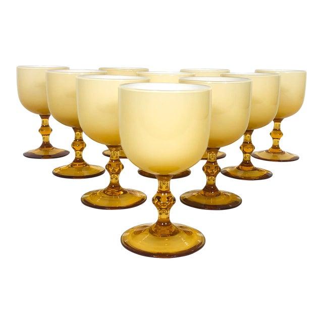 Vintage Carlo Moretti Butterscotch Cased Glass Wine Glasses - Set of 10 For Sale