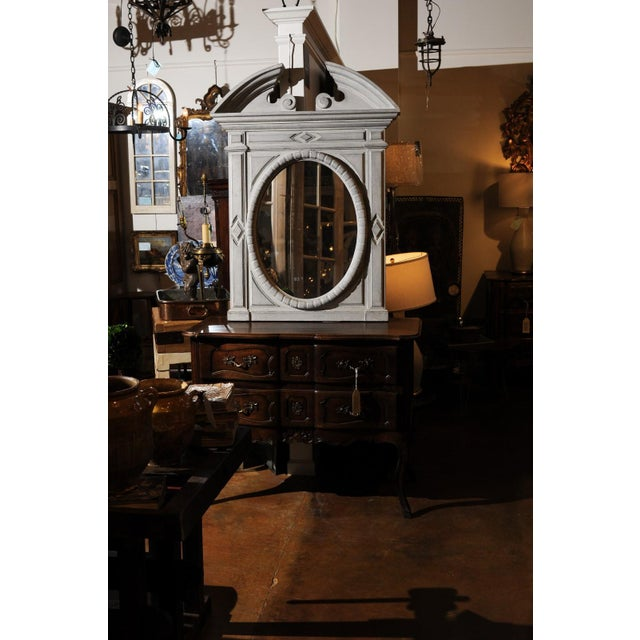Renaissance Style 1850s Belgian Painted Oval Mirror with Broken Arch Pediment For Sale - Image 9 of 12