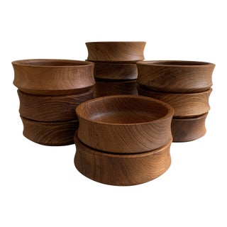 1970's Wooden Teak Salad Bowls - Set of 12 For Sale