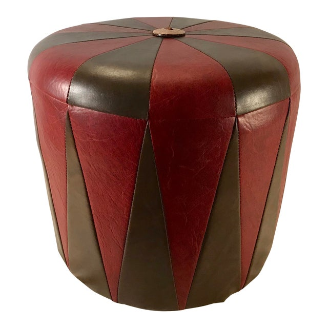 20th Century Boho Chic Brown Leatherette Pouf Footstool For Sale