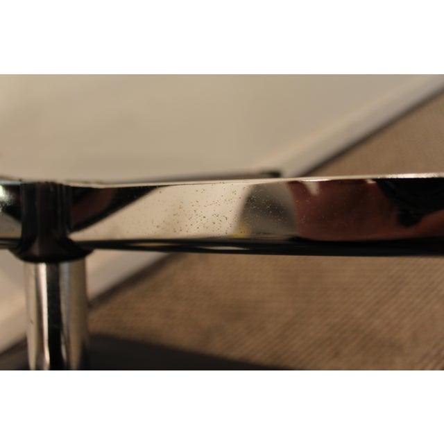 Black Overman Mid-Century Black Chrome Swivel Ottoman/Foot Stool For Sale - Image 8 of 11