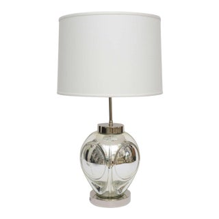 Mid-Century Modern Polished Chrome & Mercury Glass Table Lamp Base For Sale