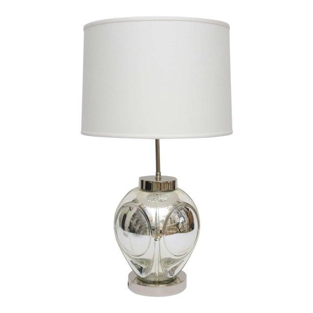 Mid-Century Modern Polished Chrome & Mercury Glass Table Lamp Base For Sale