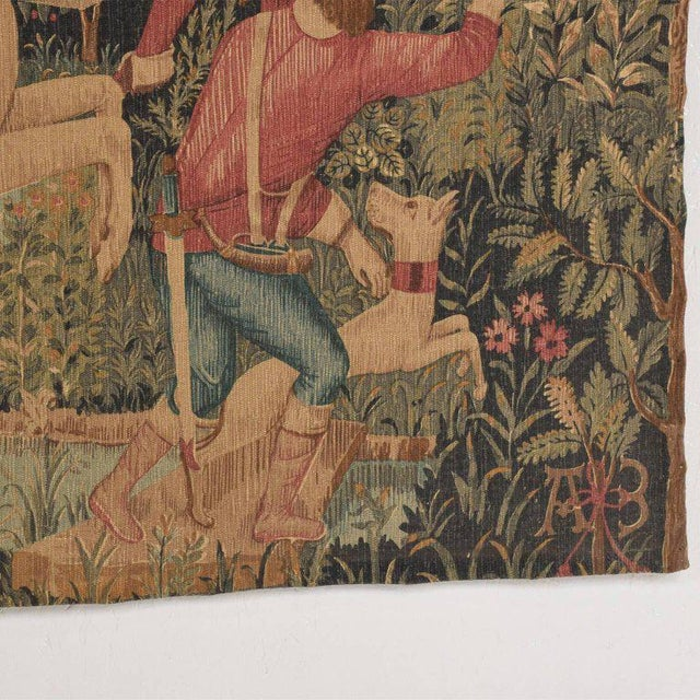 1970s Large Italian Wall Tapestry by Paris Panneaux Gobelins For Sale - Image 5 of 12