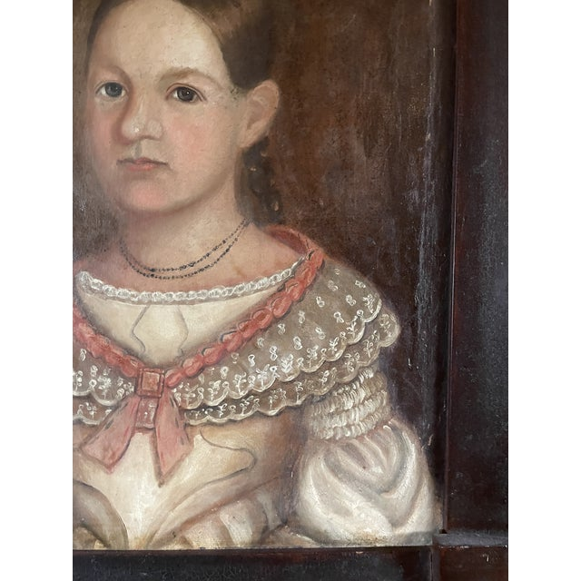Early 19th Century American Folk Art Portrait Oil Painting of a Girl, Framed For Sale - Image 9 of 13