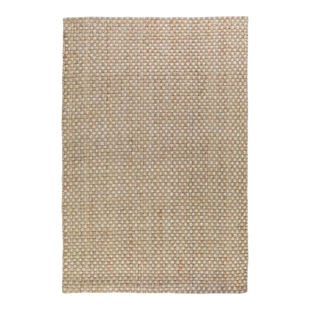 Basket Weave Natural/Bleach Jute Rug - 5 X 8 For Sale