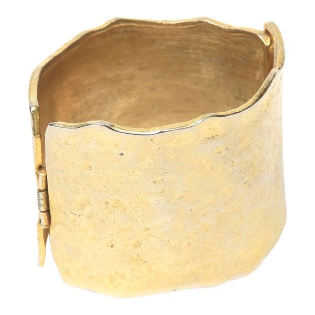 Vintage Gold Metal Hammered Hinged Cuff Bracelet For Sale