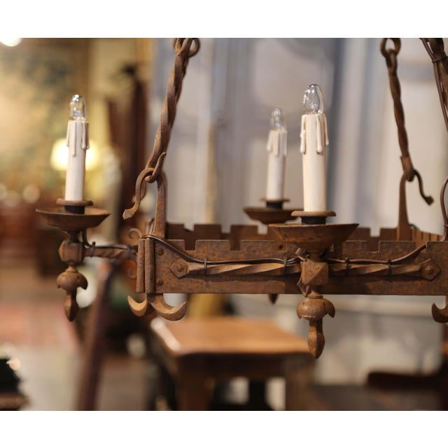 White 19th Century French Gothic Square Wrought Iron Four-Light Chandelier For Sale - Image 8 of 9