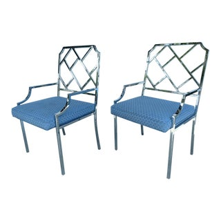 Milo Baughman Chrome Chippendale Styled Armchairs - a Pair