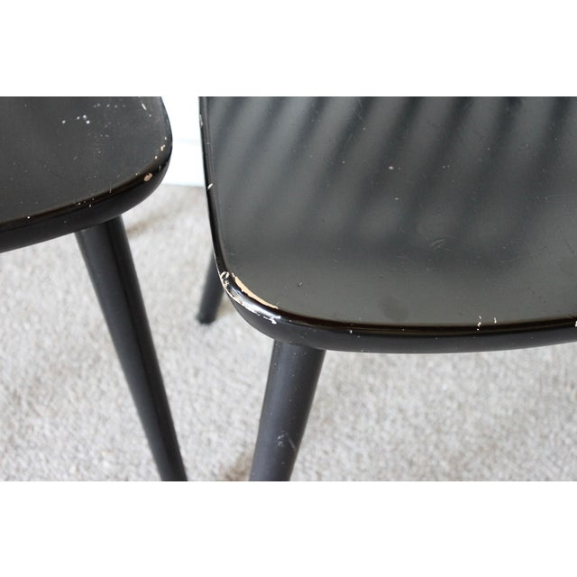 Black Swedish Mid Century Solid Wood Spindle Dining Chairs - Set of 4 For Sale - Image 8 of 9