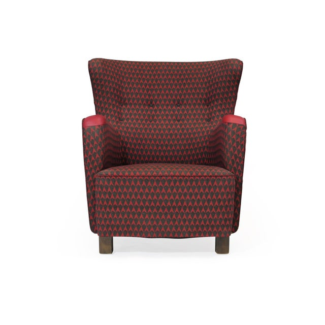 1937 A.J. Iversen for Kaj Gottlob Deco Lounge Chair Original Fabric For Sale In San Francisco - Image 6 of 9