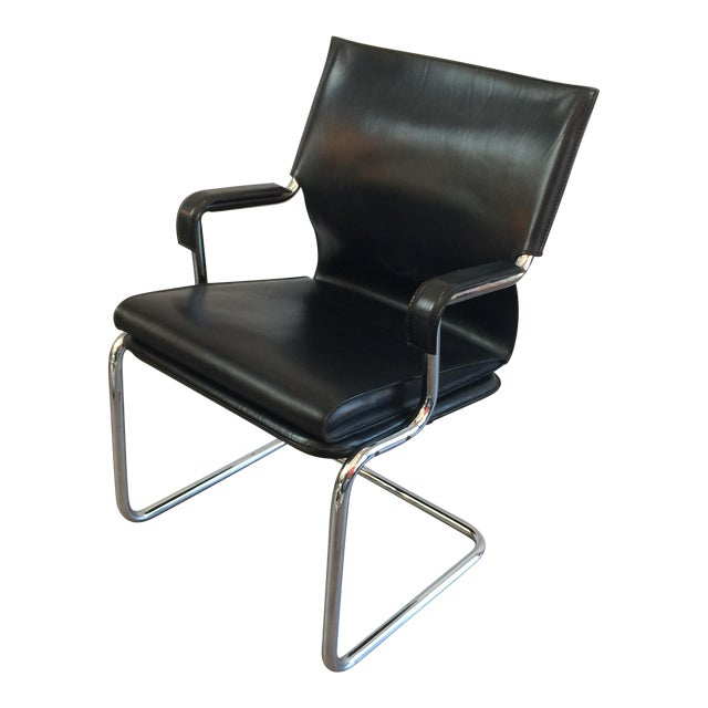 """Marcatre Black Leather & Chrome """"Uno"""" Chair For Sale"""