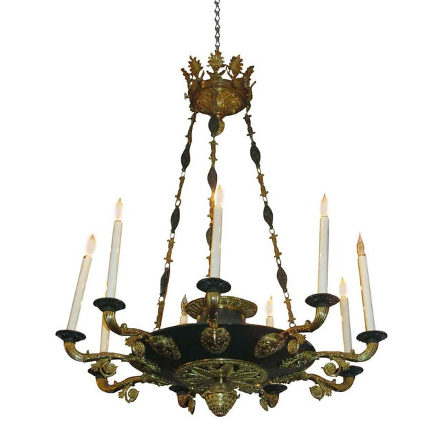 Two-Toned Empire 10 Light Bronze Chandelier For Sale In New York - Image 6 of 11
