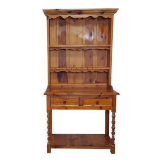 Rustic Style Pine China Hutch Sideboard With Spindles - 2 Pieces For Sale