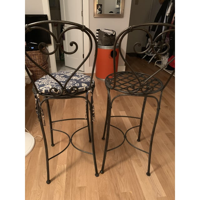 Wrought Iron Barstools - A Pair For Sale - Image 4 of 9