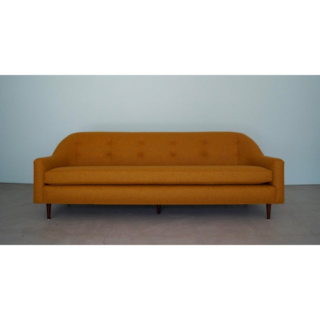Mid-Century Modern Sofa Reupholstered in Orange Wool