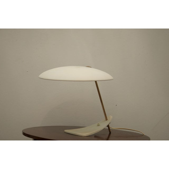 White Mid-Century Brass & Steel Table Lamp For Sale - Image 8 of 8