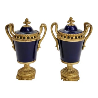 Antique French Cobalt Porcelain & Gilt Bronze Urns - a Pair For Sale