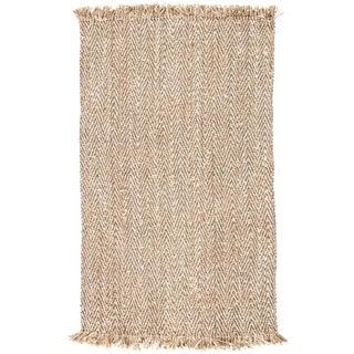 Contemporary Jaipur Living Hoopes Natural Chevron Beige & Gray Area Rug - 5' X 8' For Sale
