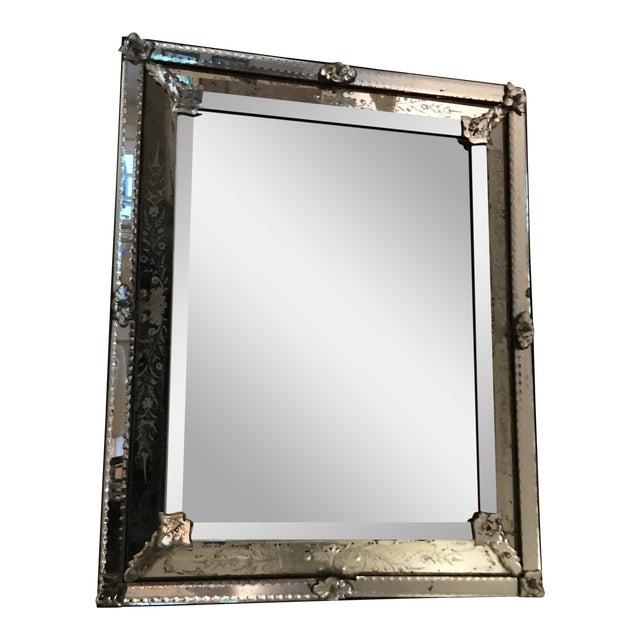 Antique Venetian Glass Silver Tone Mirror For Sale