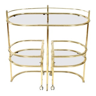 Mid-Century Modern Two Tiered Brass Bar Cart For Sale