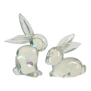 Vintage Archimede Seguso Murano Iridescent Italian Art Glass Bunny Rabbit Figurines - a Pair For Sale