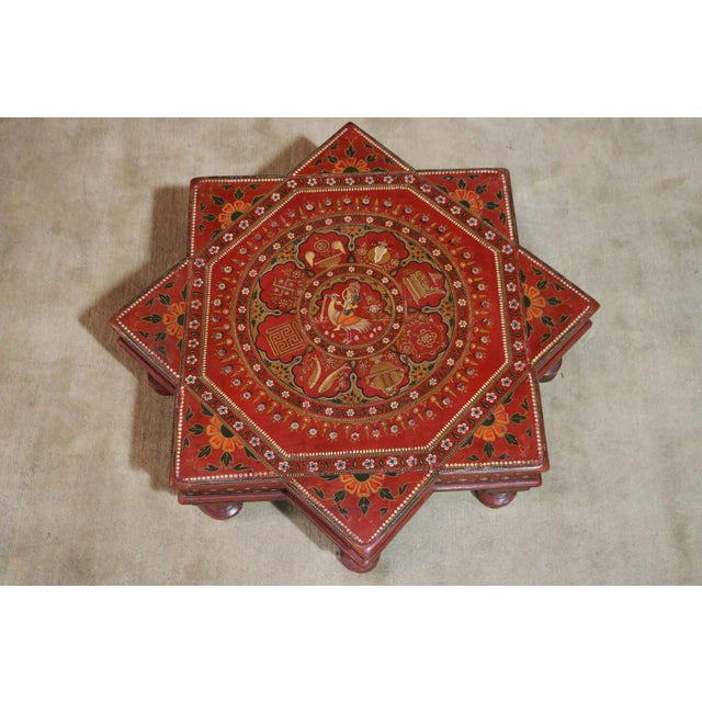 1920s 1920s Indian Painted Wooden Low Coffee Table For Sale - Image 5 of 6