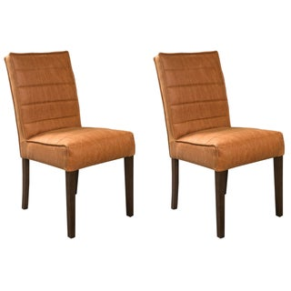 Hollywood Regency Style Leather Side Chair - Pair For Sale