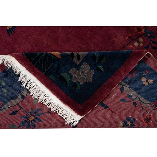 Textile Early 20th Century Antique Art Deco Chinese Wool Rug For Sale - Image 7 of 13