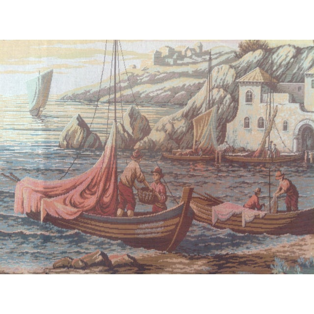 French French Dutch Port Scene Tapestry For Sale - Image 3 of 5