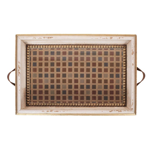 Hollywood Regency Vintage Italian Serving Tray With Leather Handles & Woven Silk Under Glass For Sale - Image 3 of 7