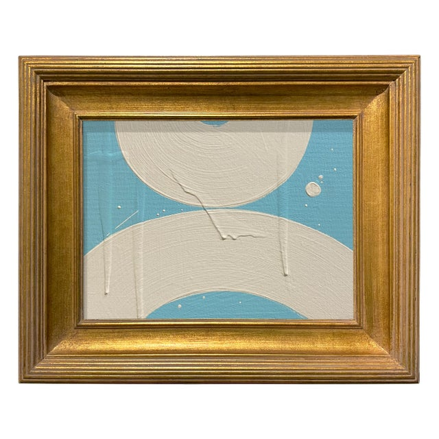 Ron Giusti Mini Wagasa 2 Light Blue and Cream Acrylic Painting, Framed For Sale - Image 4 of 4