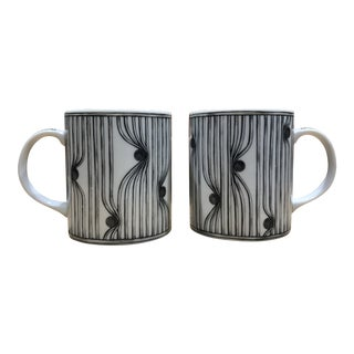 Vintage Ferri Pattern Taitu by Emilio Bergamin Mugs - a Pair For Sale