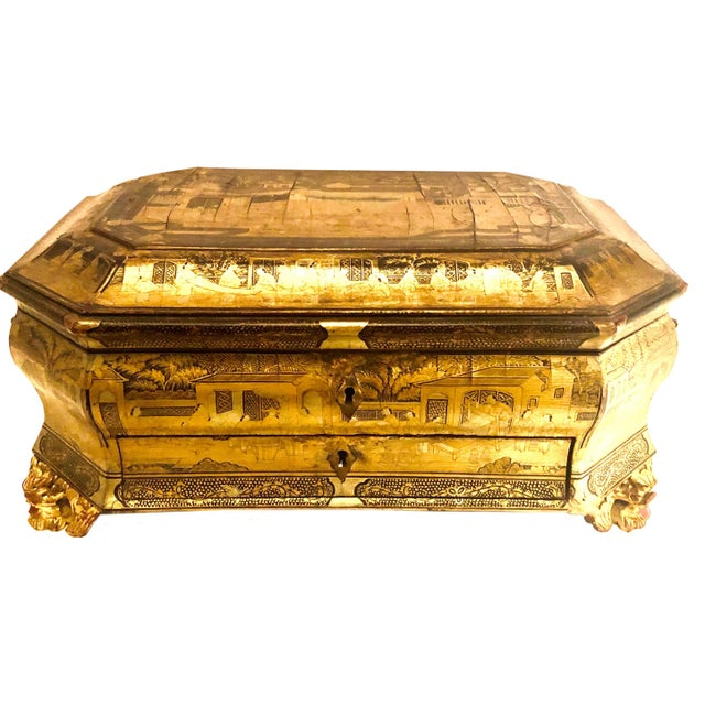 Gold 19th Century Chinese Black Lacquer Work Box For Sale - Image 8 of 11