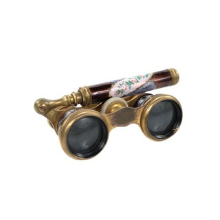 Antique 19th C. French Enamel & Brass Opera Glasses For Sale
