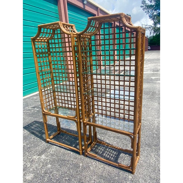 Vintage Hollywood Regency Bamboo Pagoda Etagere - a Pair For Sale In Miami - Image 6 of 8