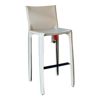 Mario Bellini 410 Cab Stool Chair for Cassina in White Leather For Sale