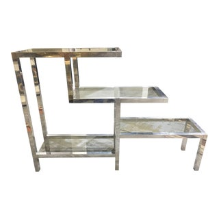 1970s Modern Aluminum & Glass Display Etagere For Sale
